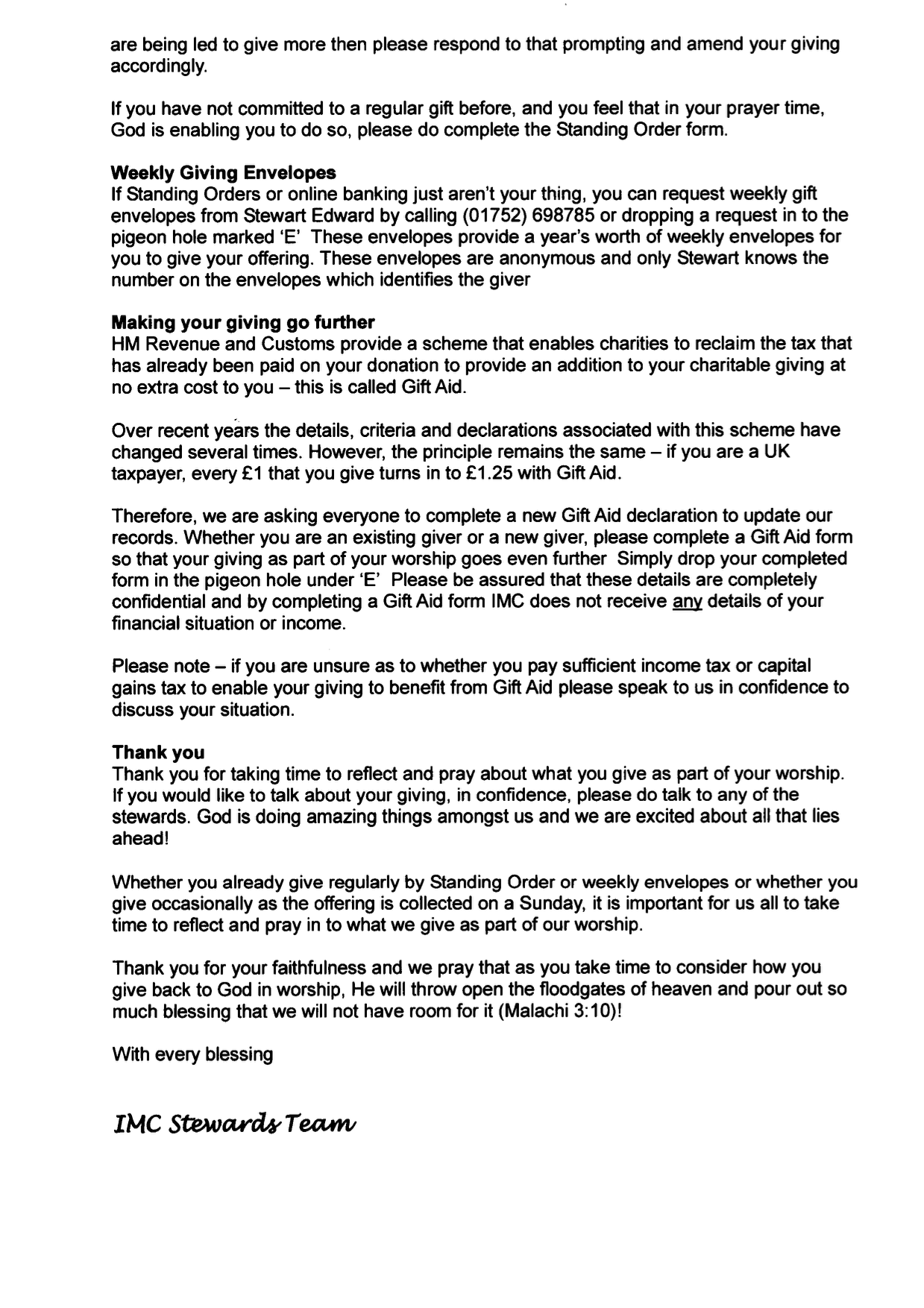 From our stewards about regular giving because the tax rules keep below is a copy of the recent note about giving sent out by the stewards please remember that in addition to the regular giving to the church funds you negle Images